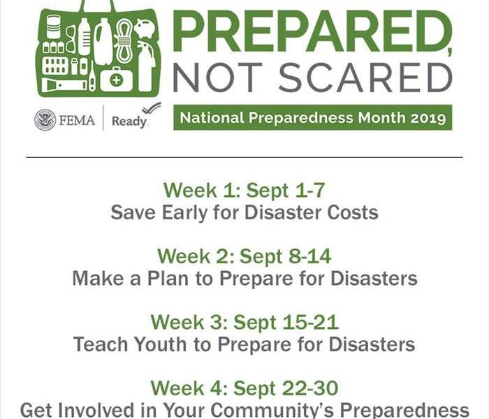 The calendar for each weeks focused topics for the Prepared Not Scared theme for September.